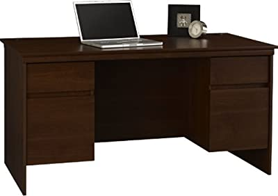 Altra Presley Executive Desk with File Drawers, Resort Cherry