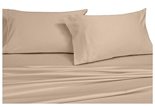 Split-King: Adjustable King Bed Sheets 5PC Solid Tan 100% Combed Cotton 550-Thread-Count, Deep Pocket