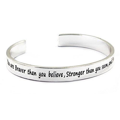MIKINI Bracelets Engraved Motivational Inspirational