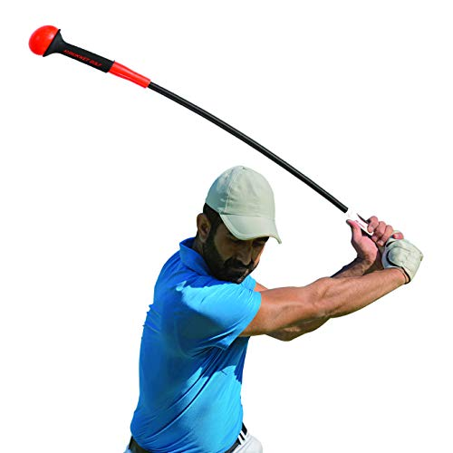 (Rukket Golf Swing Trainer | Equipment & Training Aids for Tempo & Speed Practice | Flex Tool Whip Club | Weighted Warm Up Stick & Wrist Aid | Impact Power Weight | Plane Guide (48 inches.75lb Head))