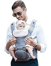 Bebamour Babytrage Hüftsitz 6 in 1 Clasical Babytrage Rucksack 0-36 Monate mit 3PCS Baby Drool Lätzchen, Cabrio Babytrage (Noble Grey)