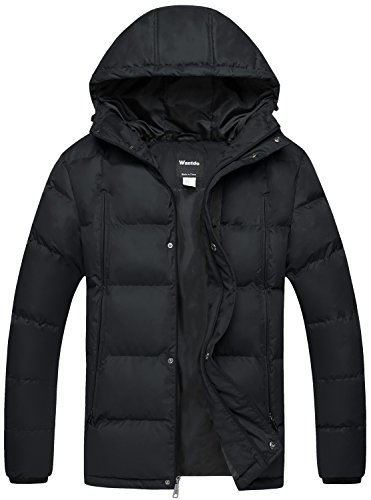 Wantdo Men's Puffer Jacket Warm Heavyweight Quilted Hooded Outdoor Coat Black (Poly Fill Quilted Vest)