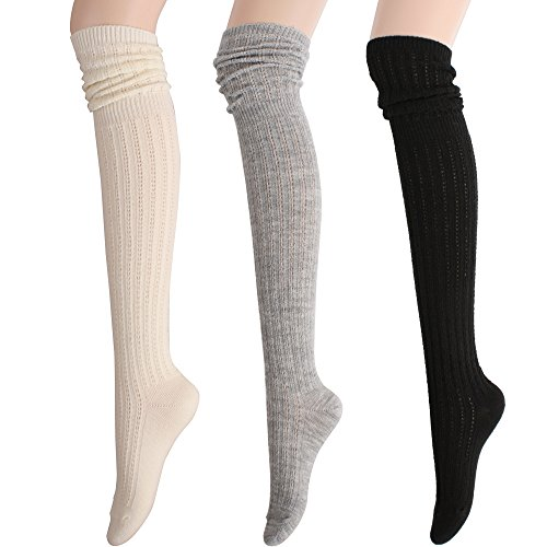 Review STYLEGAGA Winter Slouch Top Over The Knee High Knit Boot Socks (One Size:XS to M, Slouch Top_3Pair)