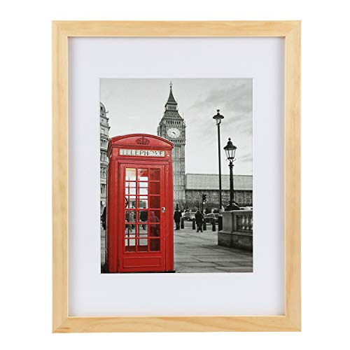 ONE WALL Tempered Glass 11x14 Picture Frame Solid Wooden Frame with Mats for 8x10 Photo, Natural Wood Color Frames for Wall Mounting or Tabletop - Mounting Hardware Included]()