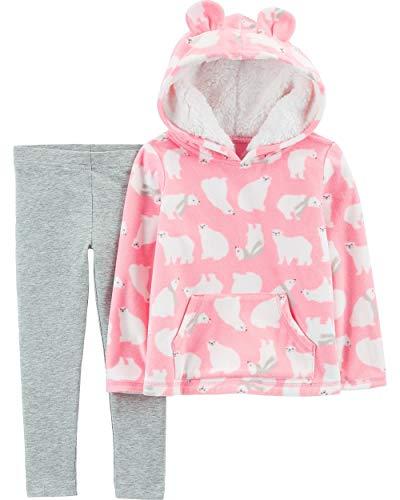 Carter's Baby Girls' 2-Piece Hoodie and Legging Sets (Pink Fleece/Bears, 6 Months)