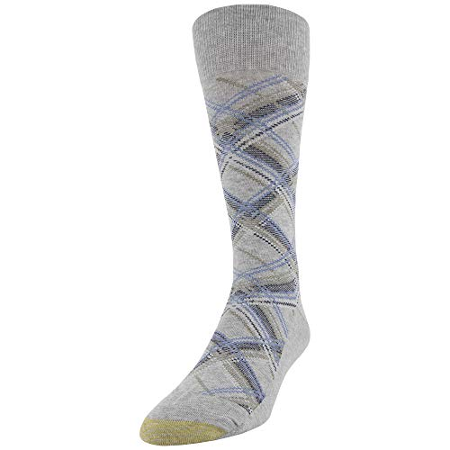 Gold Toe Men's Fashion Dress Crew Socks, 1 Pair, Grey Madras Plaid, Shoe Size: - Gold Pattern