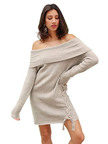 Simplee Apparel Women's Autumn Winter Sexy Off Shoulder Lace Up Sweater Dress