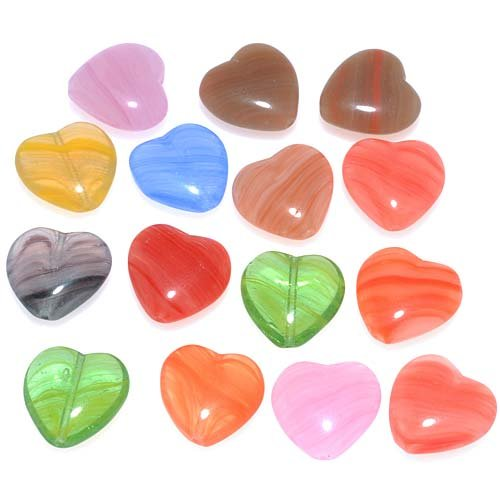 CzechGlassHearts15-PieceBead,15mm,BrightAssortedColors (Heart Pressed Glass)