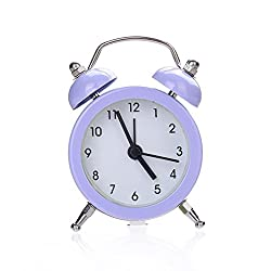 LtrottedJ Alarm Clock, Twin Bell Silent Alloy Stainless Metal Alarm Clock (Purple)