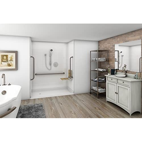 "durable service 54.25"" x 36.875"" White 5-Piece Barrier-Free Modular Shower Surround - Right Drain"