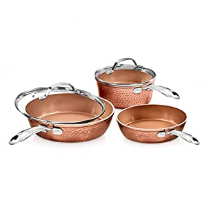 Gotham Steel Premium Hammered Cookware – 5 Piece Ceramic Cookware, Pots and Pan Set with Triple Coated Nonstick Copper… 5