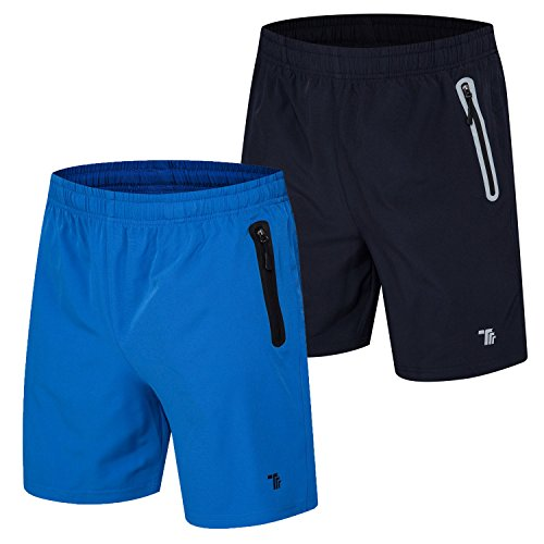 TBMPOY Men's 2 Pack Quick Dry Gym Sport Running Shorts with Zipper Pockets(03,navy+color blue,us (Running Mens Shorts)