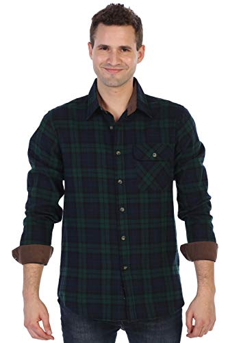 Cotton Brushed Flannel Plaid Checkered Shirt with Corduroy Contrast, Navy/Black/Green, Small ()