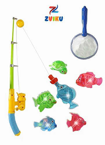 Zviku Magnetic Light Up Fishing Baby Bath Toys Set for toddlers - Includes Rod & Reel with Turtle and 5 Unique Fish