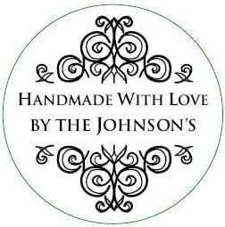 Handmade With Love By Rubber Stamp Calligraphy Stamp Custom Rubber Stamp Gift Tag Stamp Wood Handle or Self Inking