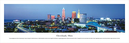 Cleveland, Ohio at Twilight - Blakeway Panoramas Unframed Skyline Posters