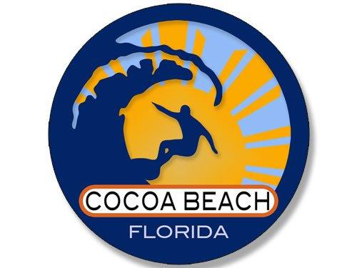 American Vinyl Round Surfer On Wave Cocoa Beach Florida Sticker (Surfing surf Retro Beach)