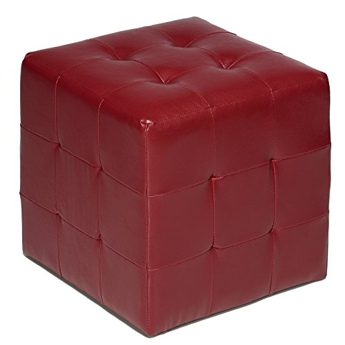 Cortesi Home Braque Tufted Cube Ottoman in Leather Like Vinyl, Red (Burgundy Ottoman)