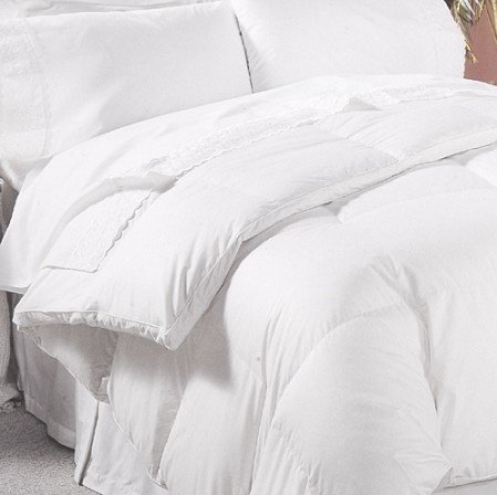 1200 Thread Count 100% Egyptian Cotton Baffle Box All Year Goose Down Comforter, White, Queen, 750 FP, 50 oz