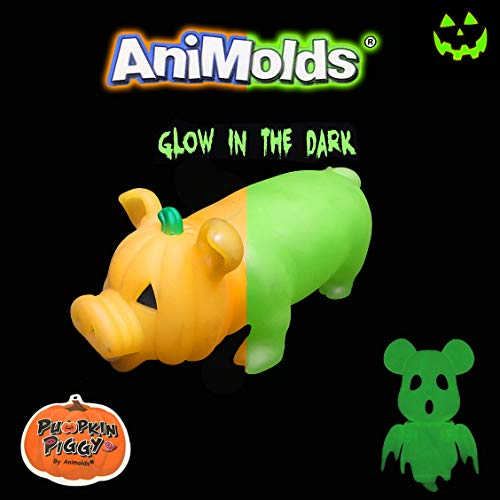 Animolds Halloween Squeeze Me Pumpkin Piggie Toy Glow in The Dark Version, Great for Halloween Decorations and Parties. Collectable Item! (Single) -