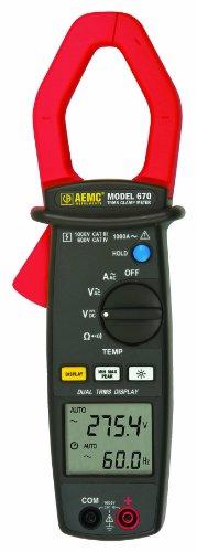 AEMC 670 Dual Display TRMS Clamp-On Meter, 10000 Ohms Res...