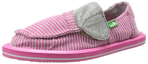 Sanuk Kids Pick Pocket Tee Sidewalk Surfer Kids (Toddler/Little Kid),Fuchsia Stripes,11 M US Toddler by Sanuk