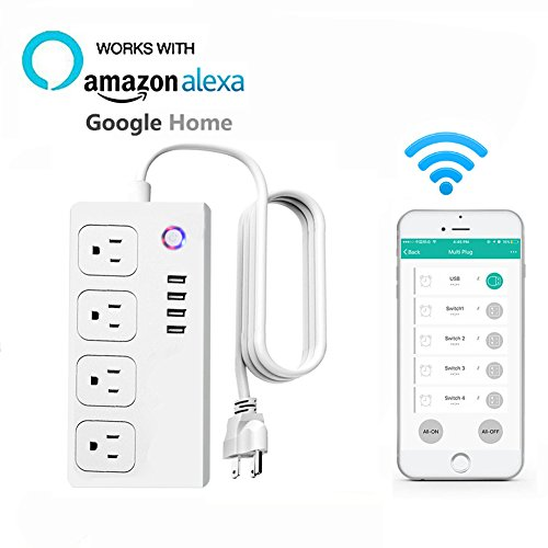 Price comparison product image Smart Wi-Fi Socket Compatible with Alexa& Google Home, No Hub Required, Knaclean Multi Plug Outlet Power Strips Surge Protector Supports APP& Voice Remote Control