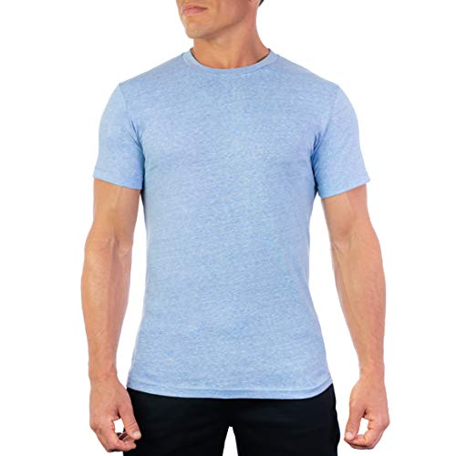 CC Perfect Slim Fit T Shirts for Men | Premium Ultra Soft Short Sleeve Fitted Crew Neck T-Shirts for Men, Medium, Ethereal Blue