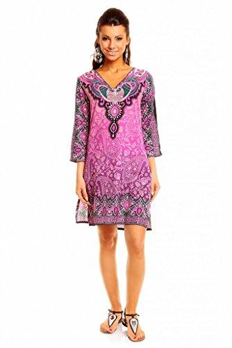 Looking Glam, Mini vestido para mujer, estilo Tribal, Túnica estampada, caftán para verano–tallas 36–�?6 morado