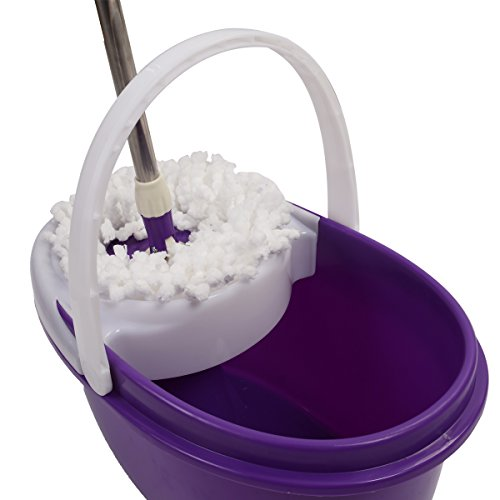 Easy Magic Floor Mop 360° Bucket 2 Heads Microfiber Spin Spinning Rotating Head (Purple) by Sustainables (Image #4)
