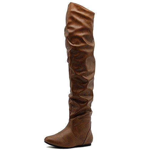 Ollio Women's Shoe Stretch Faux Leather Over The Knee Flat Wrinkle Long Boots TWB01033 (7 B(M) US, Tan-PU) by Ollio