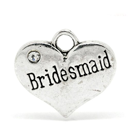 Housweety Rhinestone Bridesmaid Pendants 16x14mm