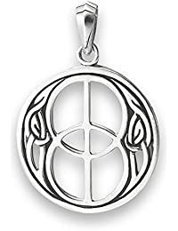 Celtic Peace Sign Pendant .925 Sterling Silver Unity Infinity Knot Hippie Symbol Charm
