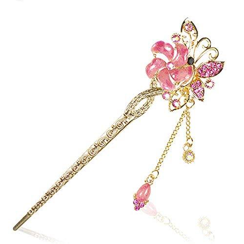 Fashion Style 9cm Crystal Flower Girl Hair Sticks Love Rose Wedding -