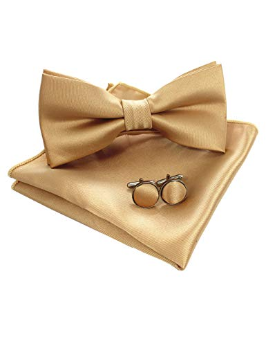 JEMYGINS Mens Gold Pre-tied Bow Tie and Pocket Square Cufflink Set - Gold Small Bow