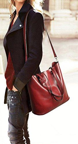 borsa tracolla da con Dark cerniera e Red Jlcorp a donna secchiello PqPaw