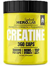 Hero.Lab Creatine Monohydraat - 1 pak x 360 capsules - Creatine om de spierkracht te verbeteren - Licht verteerbaar - In gemakkelijk in te slikken capsules