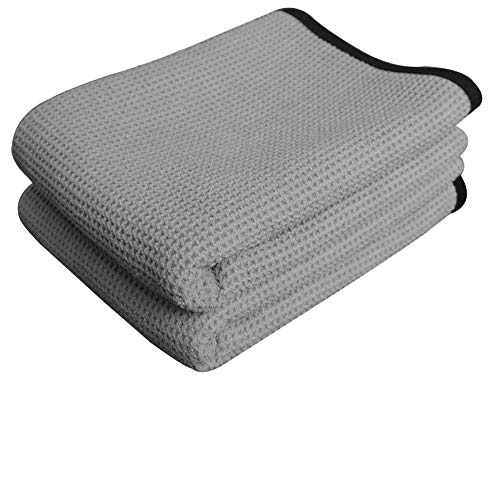 (Gryeer Extra Large Microfiber Waffle Weave Drying Towel, Professional Grade Car Cleaning Detailing Cloth, Bigger and Thicker than Normal Waffle Drying Towels, 400gsm, 40x28 inch,Pack of 2, Gray)