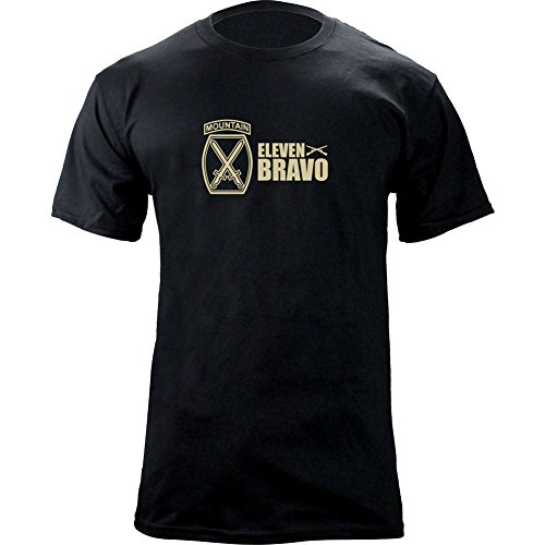 10th Mountain Infantry Division (​​Army 10th Mountain Division 11 Bravo Infantry T-Shirt (L, Black/Tan))