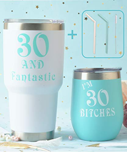 30th Birthday Wine Tumbler Mint Pack | Thirty and Fantastic Wine Tumbler | 30 and Fabulous 12oz + 30oz Stainless Steel Wine Glass Tumbler with Lid and Reusable Silicone Straw -