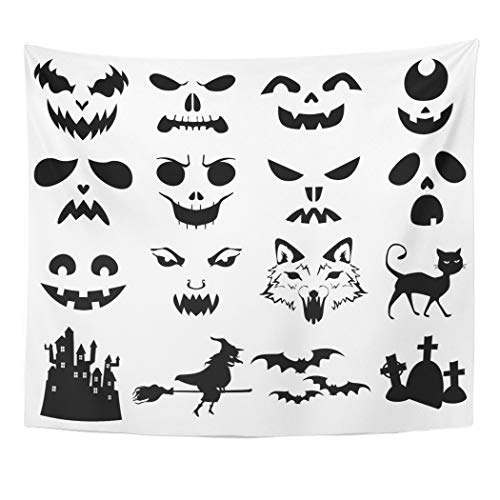Emvency Wall Tapestry Face of Halloween Pumpkins Carved Silhouettes Stencil Cat Creepy Bats Black White Castle Decor Wall Hanging Picnic Bedsheet Blanket 60x50 Inches]()