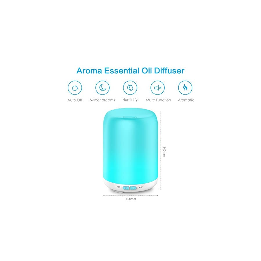 Aptoyu Essential Oil Diffuser, 120ml Aroma Diffuser Ultrasonic Cool Mist Aromatherapy with 7 LED Lights, Waterless Auto Shut Off for Home Spa Baby Bedroom, 2 Pack