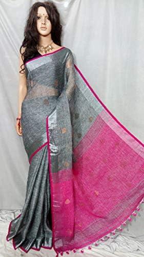 ETHNIC EMPORIUM - Stivaletti da donna in lino con bordo e camicetta da Bengal Weavers, stile indiano, 133, 43481, come mostrato