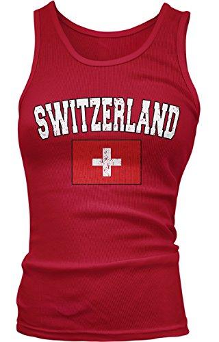 Amdesco Junior's Flag of Switzerland, Home Swiss Flag Tank Top, Red Medium