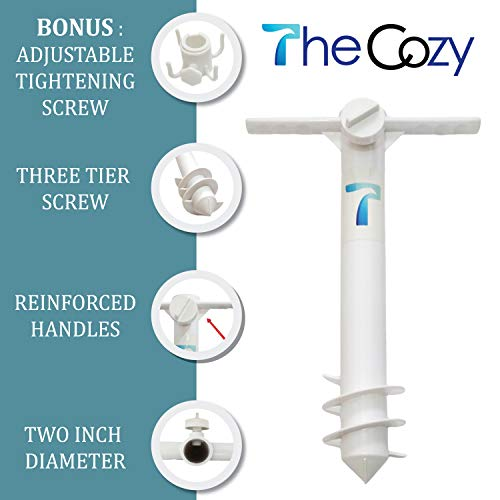 TheCozy Beach Umbrella Screw Sand Anchor Stand Holder Fishing Rod Gripper One Size Fits All Safe for Strong Wind with 4-prongs Hanging Hook