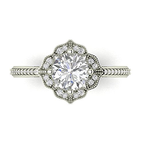 - Forever One Moissanite Near Colorless & Diamond Halo Floral style Engagement Ring in 14k White (white-gold, 8)