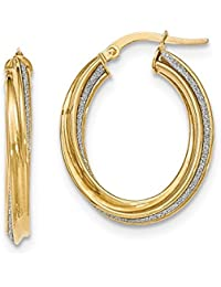 Mia Diamonds 14k Yellow Gold Polished Glitter Infused Twisted Oval Hoop Earrings