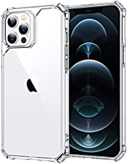 """ESR Air Armor Compatible with iPhone 12 Pro Max Case [Military-Grade Drop Protection][Shock-Absorbing Corners] [Anti-Yellowing Hard Back] [Scratch Resistant] [Flexible Frame] iPhone 2020, 6.7"""",, Crystal Clear"""