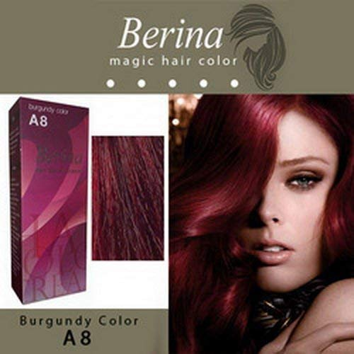 Berina A8 Burgundy Hair Dye Color Cream Dye 60 G. Super Permanent Fashion Unisex containing an innovative component which protects and provides glamor color to hair as desired