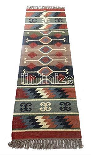 Alfombra rústica clásico india de 2 x 6 pies reversible, alfombra Kilim, área de lana, área grande, alfombra de rayas,...